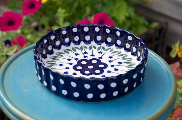 Polish Pottery Flower Spot Small Flan Dish.
