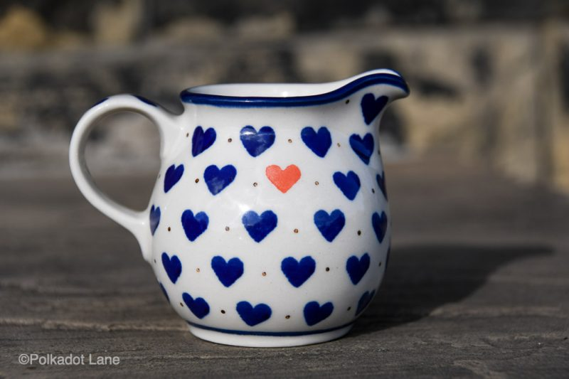 Small Hearts Pattern Small Milk Jug by Ceramika Artystyczna