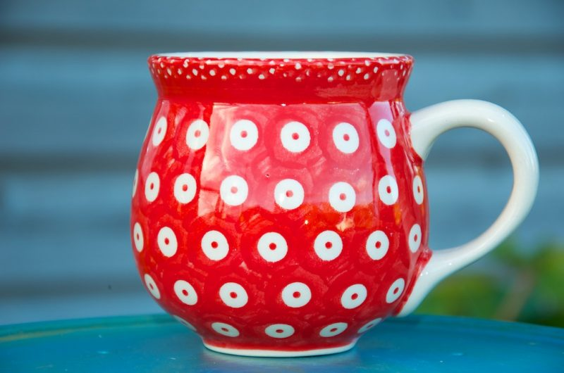 Polish Pottery Red Spot Round Mug