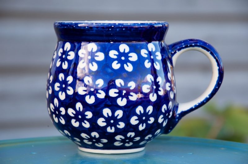 Polish Pottery White Flower Round Mug