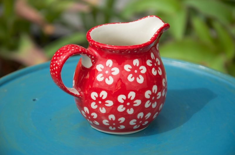 Polish Pottery Red Flower Pattern Creamer