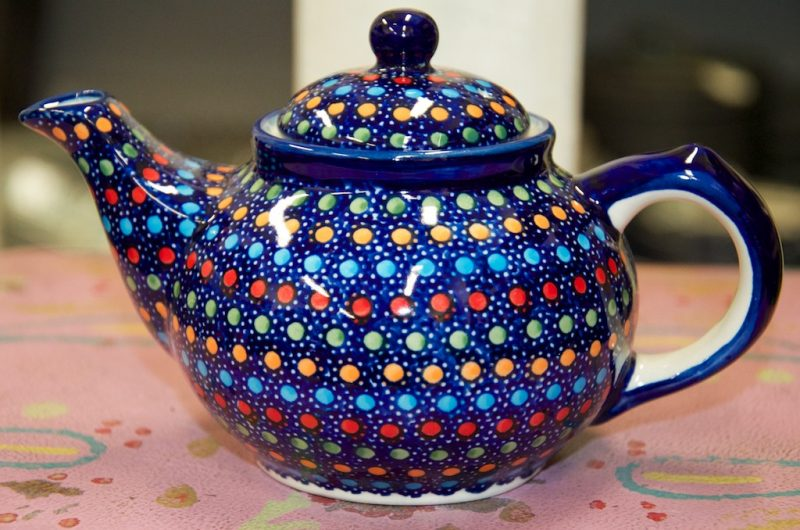 Polish Pottery Neon Spot Small Teapot