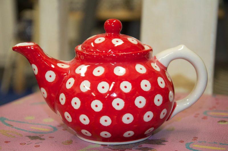 Polish Pottery Red Spot Small Teapot