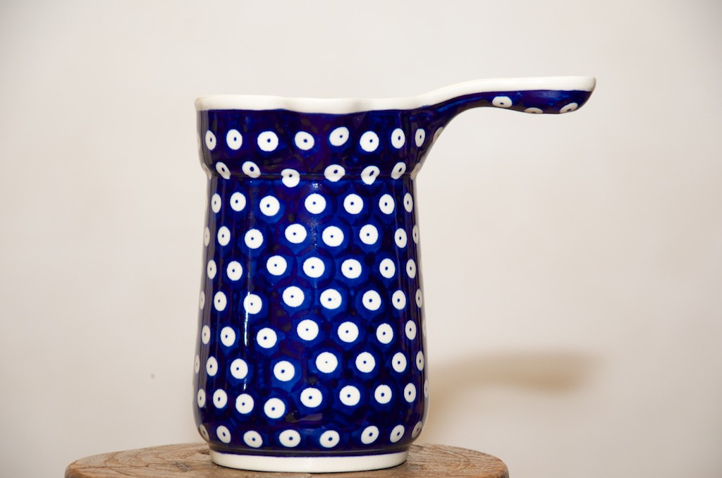 Blue Spotty Pattern Custard Jug by Ceramika Zaklady