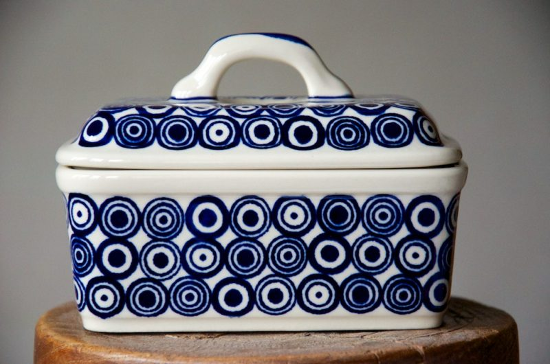 Polish Pottery Retro Spot Butter Box