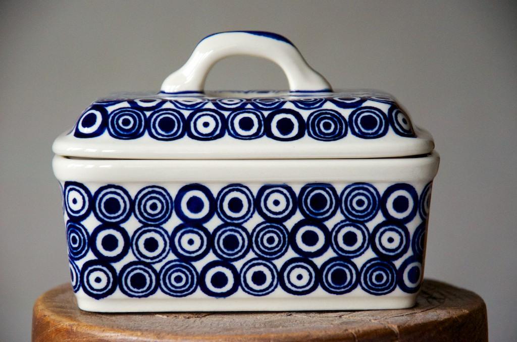 Polish Pottery Retro Spot Butter Box
