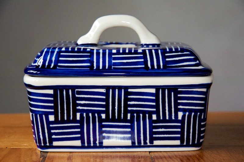 Polish Pottery Checked pattern Butter Box