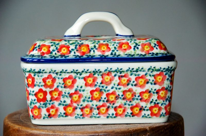 Polish Pottery Red Ditzy Flower Butter Box