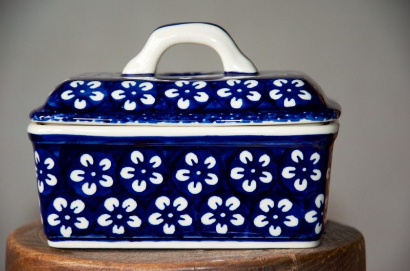 Polish Pottery White Flower Butter Box