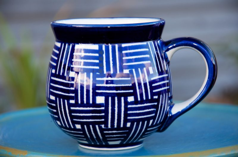 Polish Pottery Blue Checked Round Mug