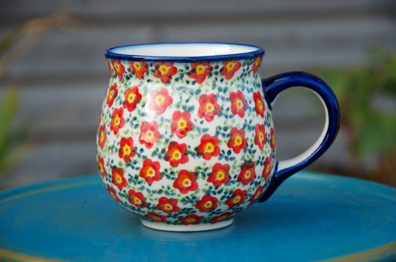 Polish Pottery Red Ditsy Flower Round Mug