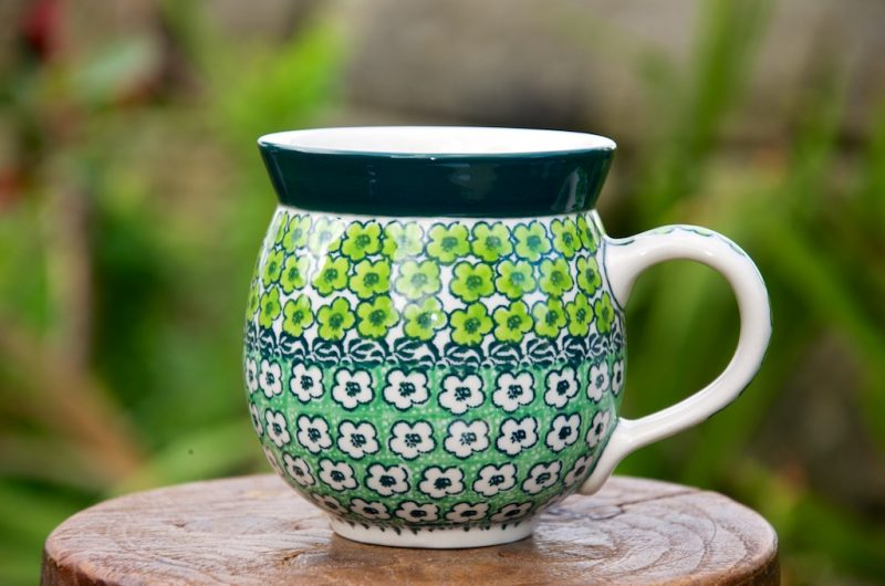 Polish Pottery Green Meadow pattern Round Mug Unikat