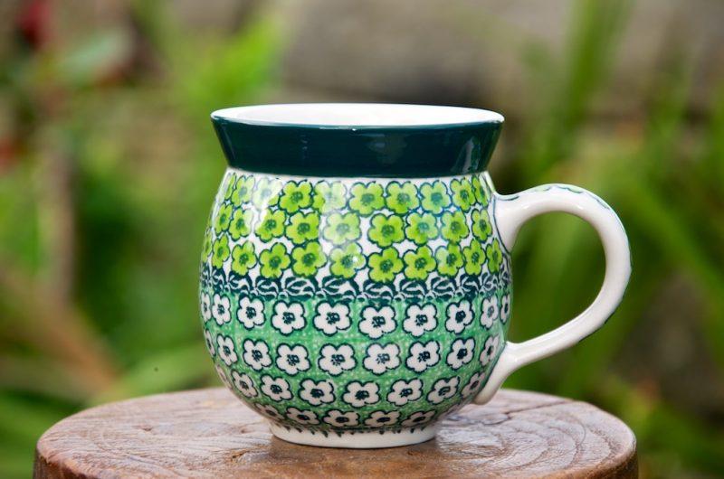 Polish Pottery Green Meadow pattern Round Mug Unikat