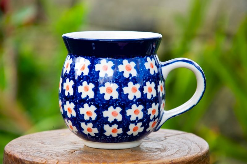 Polish Pottery Orange Flower Spot Round Mug