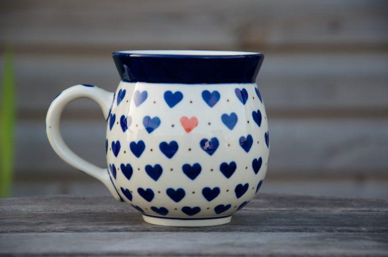Polish Pottery Small Hearts Round Mug