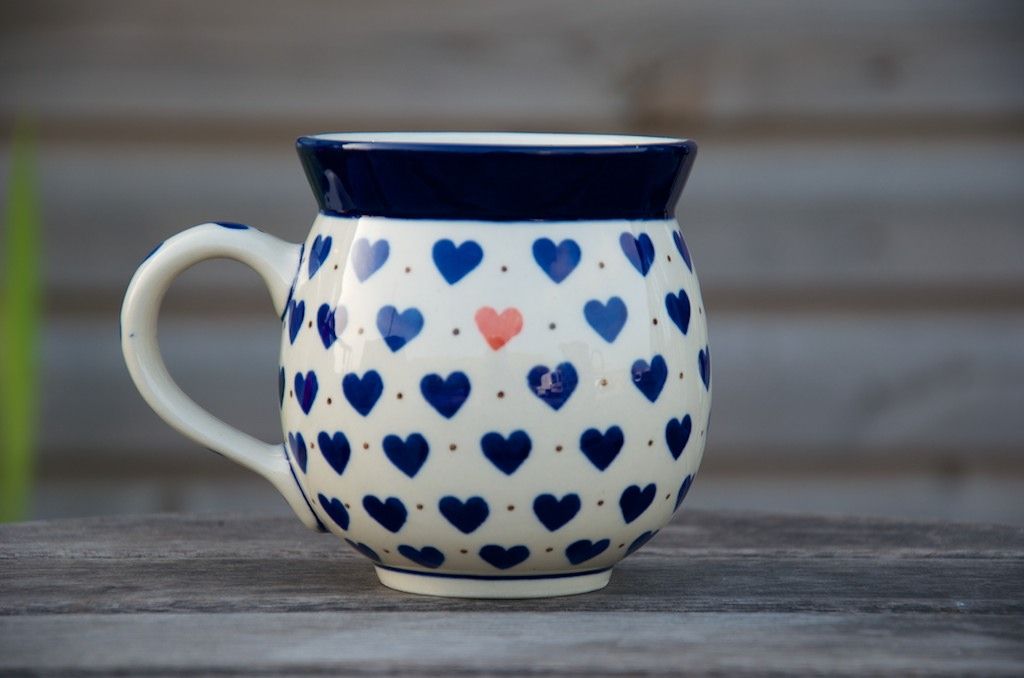 Polish Pottery Small Hearts Round Mug