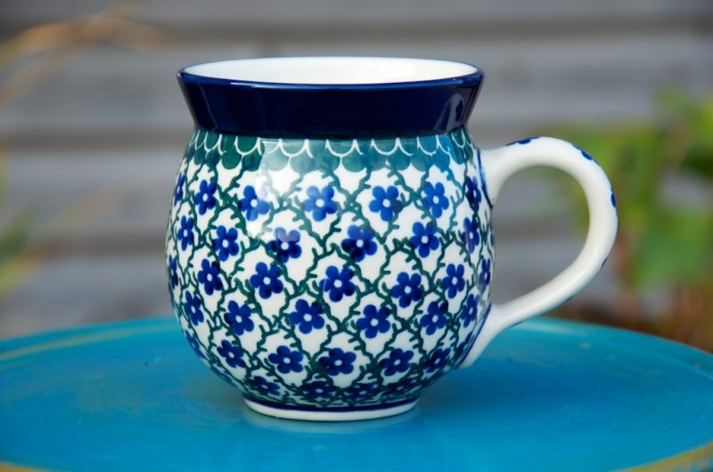 Polish Pottery Trellis Pattern Round Mug