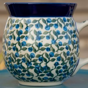 Polish Pottery Blue Berry Leaf Large Round Mug