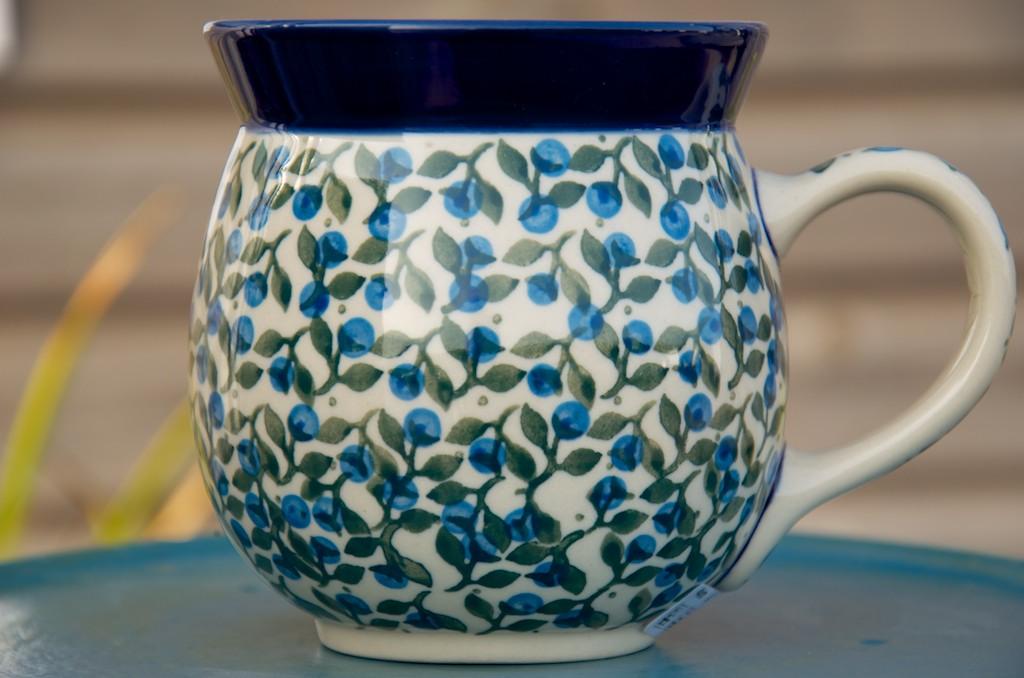Polish Pottery Blue Berry Leaf Large Round Mug