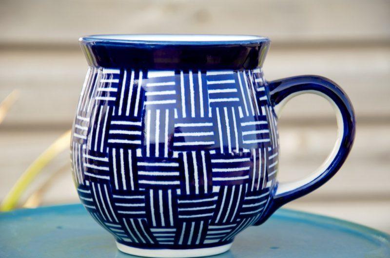 polish pottery checked large round mug