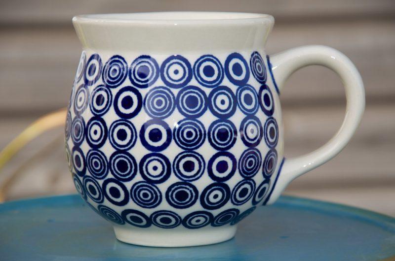 Polish Pottery Circle Spot Large Round Mug.