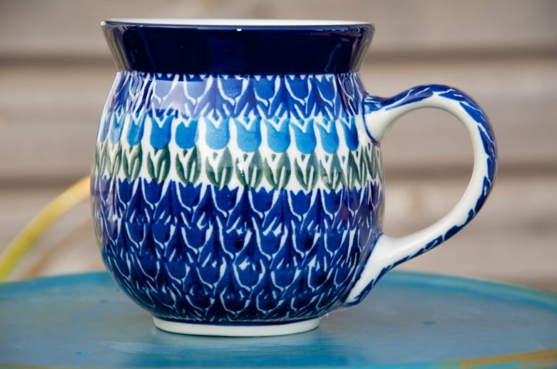 Polish Pottery Tulip Field Large Round Mug