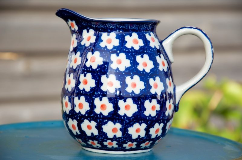 Polish Pottery Orange Flower Spot Small Jug
