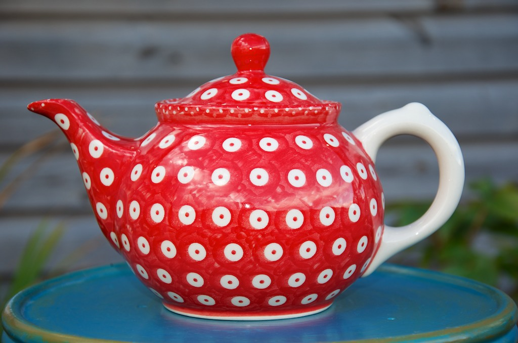 Polish Pottery Red Spot Teapot