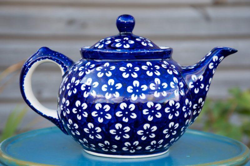 polish pottery white flower teapot