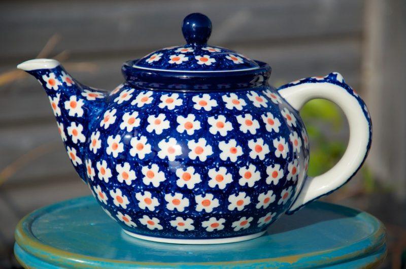 Polish Pottery Orange Flower Spot Teapot