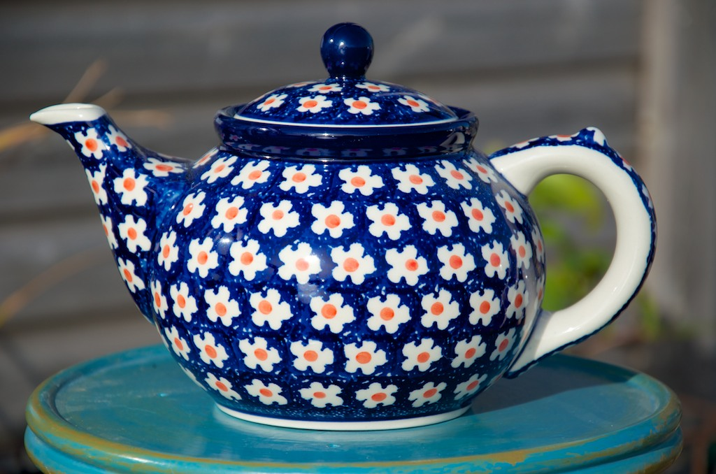 Polish Pottery Orange Flower Spot Teapot