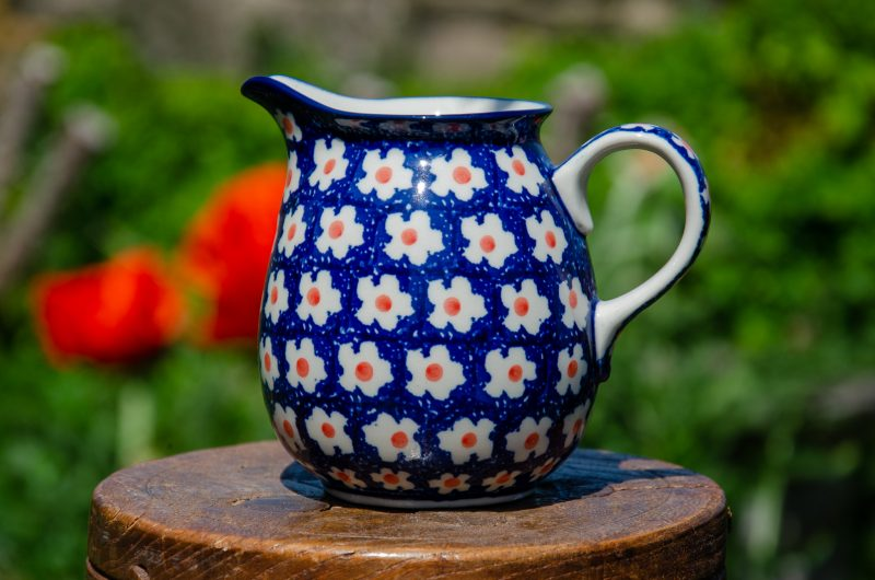 Polish Pottery Orange Flower Spot Small Jug from Polkadot Lane UK