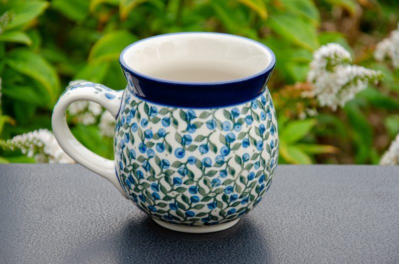 Polish Pottery Blue Berry Leaf Large Mug by Ceramika Artystyczna