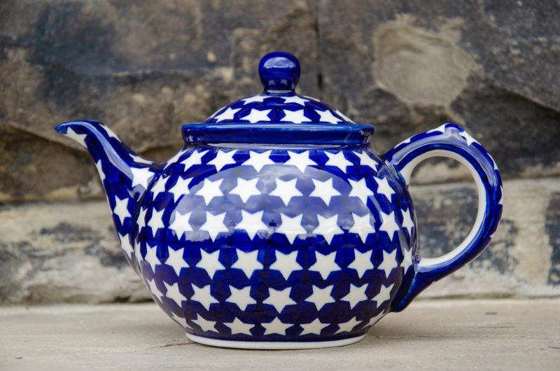 Polish Pottery White Star Pattern Teapot From Ceramika Manufaktura
