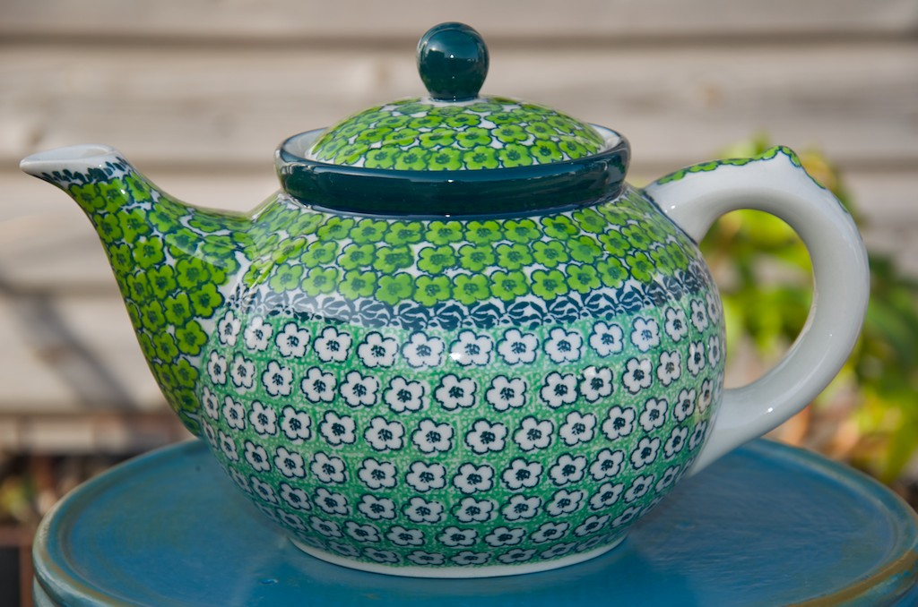 Green Meadow Teapot for Four by Ceramika Artystyczna Polish Pottery