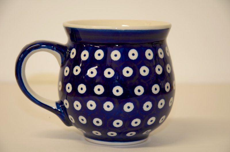 Polish Pottery Dark Spot Large Round Mug
