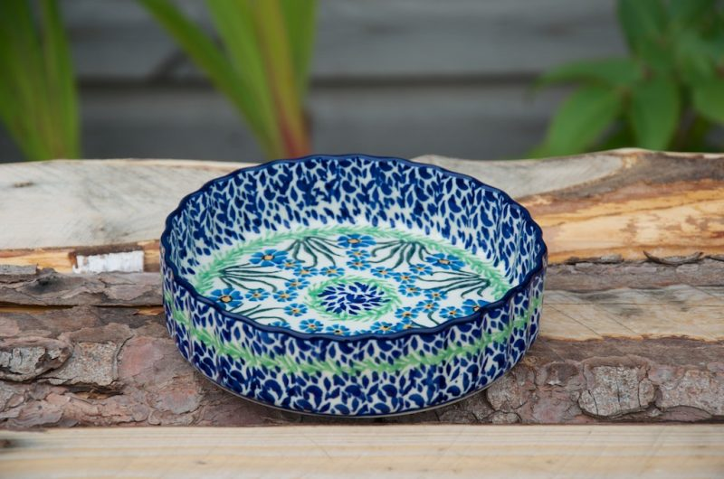 Polish Pottery Forget Me Not Small Flan Dish