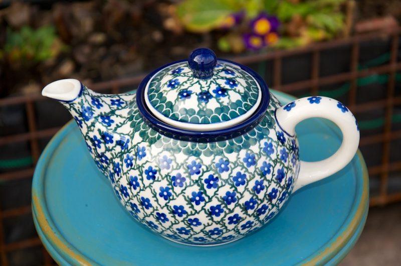 Polish Pottery Trellis Pattern Teapot