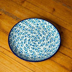 Polish Pottery Side Plate Blue Berry Leaf