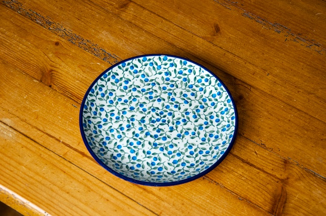 Polish Pottery Side Plate Blue Berry Leaf