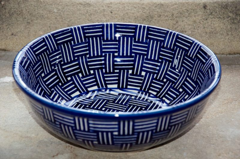 Polish Pottery Weave Pattern Serving Bowl