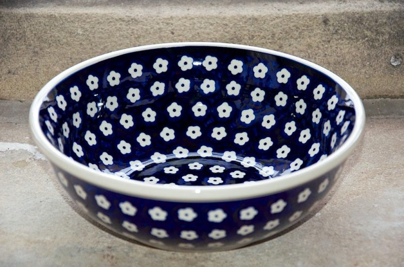 Polish Pottery Small Flower Spot pattern Serving Bowl