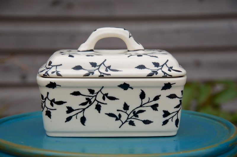 Polish Pottery Black Leaf Butter Box