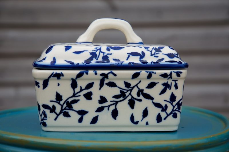 Polish Pottery Blue Leaf Butter Box
