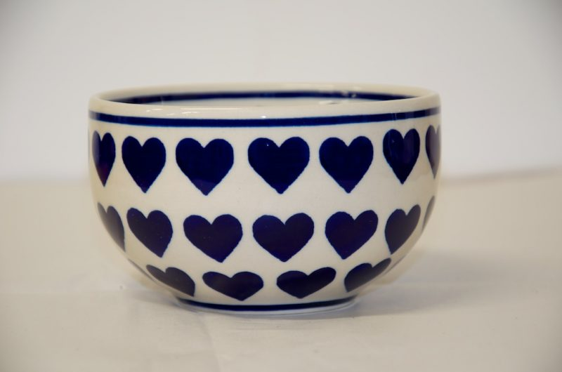 Polish Pottery Cereal Bowl Large Heart
