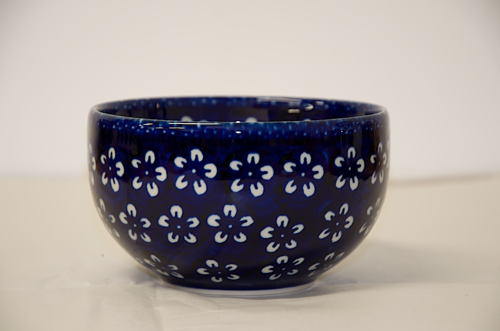 Polish Pottery White Flower Cereal Bowls