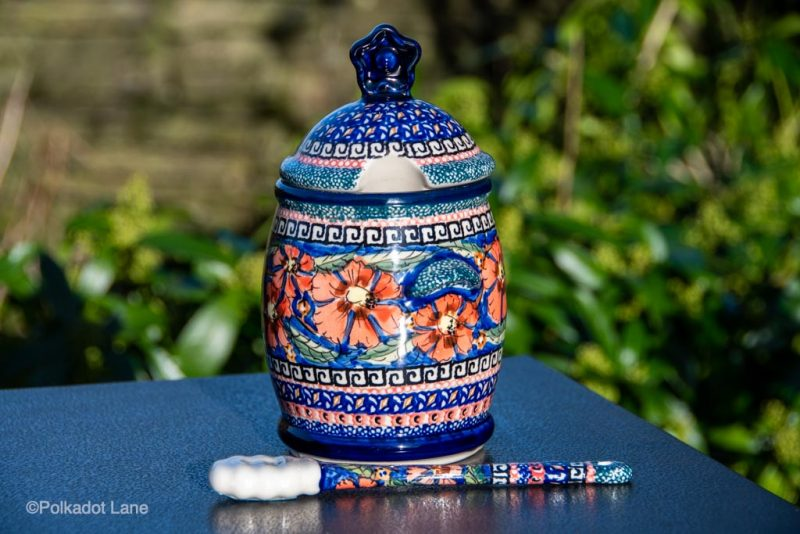 Polish Pottery Poppy Honey Pot with Matching Honey Stick. from Polkadot Lane UK