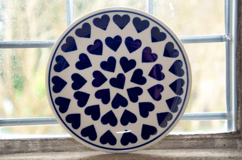 Polish Pottery Large Blue Heart Side Plate
