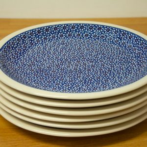 Polish Pottery Dark Daisy Dinner Plates set of ^