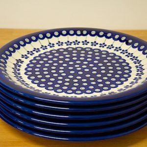 Polish Pottery Set of 6 special Dark Spot Plates.
